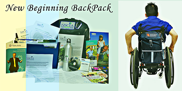 A young man in a wheelchair with a New Beginnings Backpack on his wheelchair.