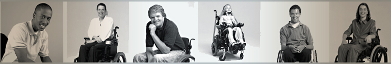 A group fo wheelchair users sitting in a horizontal row.