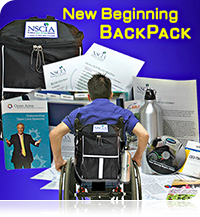 A young man in a manual wheelchair with a New Beginning BackPack on the back of his wheelchair is rolling toward enlarged images of the Backpack content.