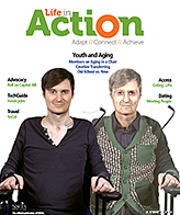 Life in Action January/February digital version. On the left is a young paraplegic in a manual wheelchair. To his right is the same person twenty years later.