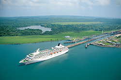 A cruise ship passing through the Panama Canal.