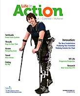 Life in Action cover November, December 2011. On the cover is an image of a young paraplegic walking with forearm crutches and exoskeletal lower limb orthotic devices.